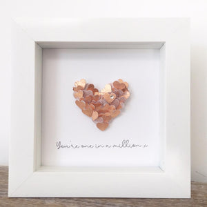 'You're one in a million' Tiny Hearts, Personalised Box Frame (Rose Gold Leaf & Swarovski Crystals) www.withcerys.co.uk Unique 3D Gifts Of Art