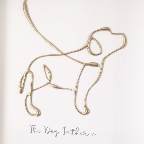 'The Dog Father' Dog Portrait, Box Frame Personalised Art (Gold) www.withcerys.co.uk Unique 3D Wall Art Gifts