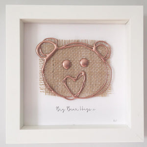 'Big Bear Hugs' 3D Box Frame Personalised Print (Rose Gold) www.withcerys.co.uk Personalised Wall Art Gifts