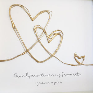 'Grandparents are my favourite grown ups' Takes a village to raise a child, Box Frame Personalised Art (Gold) www.withcerys.co.uk Unique 3D Wall Art Gifts