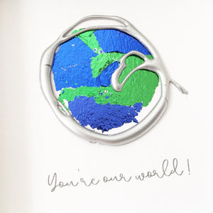 'You're our world' Earth, 3D Box Frame Personalised Art (Silver) www.withcerys.co.uk Unique Wall Art Gifts
