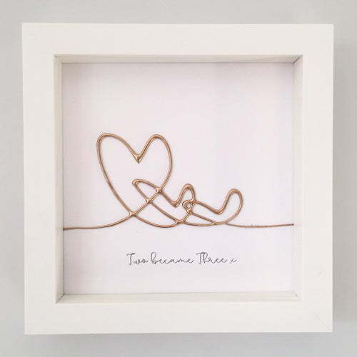 'Two became three' Family Heart Portrait, 3D Box Frame Personalised Art (Gold) www.withcerys.co.uk