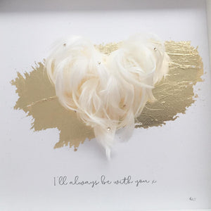 'I'll always be with you' 3D Box Frame Personalised Feather Art (Gold & Swarovski crystals) www.withcerys.co.uk Personalised Wall Art Gifts