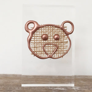 Metallic 'Baby Bear' Small Acrylic Keepsake (Rose Gold) www.withcerys.co.uk Personalised Wall Art Gifts