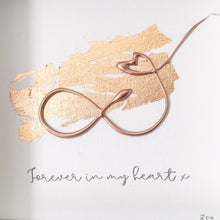 Load image into Gallery viewer, 'Forever in my heart' Infinity Symbol, 3D Box Frame Personalised Print (Rose Gold) www.withcerys.co.uk