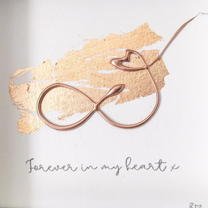 'Forever in my heart' Infinity Symbol, 3D Box Frame Personalised Print (Rose Gold) www.withcerys.co.uk