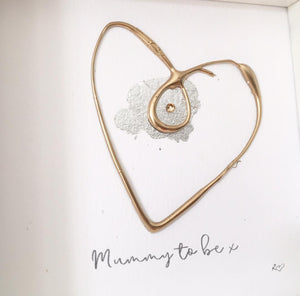 'Mummy to be' Pregnancy Heart, Box Frame Personalised Art (Gold) www.withcerys.co.uk Unique Wall Art Gifts