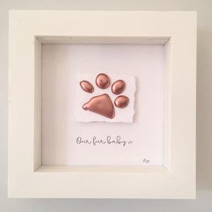 'Our fur baby' Paws, 3D Box Frame Personalised Art (Rose Gold) www.withcerys.co.uk Unique Gifts Of Art