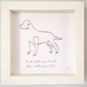 Metallic Silver Labrador Breed Design. Box frame art. Wording: 'First I stole your heart, then I stole your bed'  www.withcerys.co.uk Unique 3D Wall Art Gifts