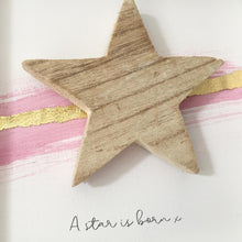 Load image into Gallery viewer, 'A star is born' Natural Star, Box Frame Personalised Art (Pink & Gold) www.withcerys.co.uk Unique 3D Wall Art Gifts