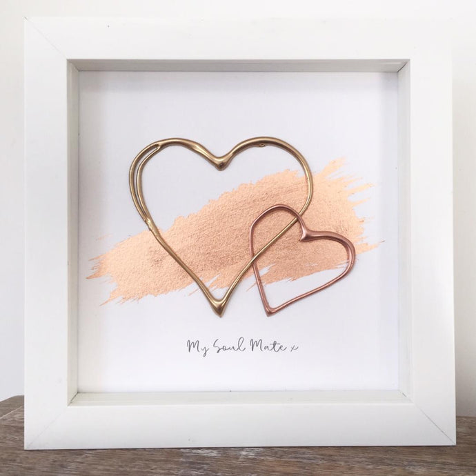 'My Soul Mate' Hearts (Gold & Rose Gold) Box Framed Wall Art Gift. www.withcerys.co.uk