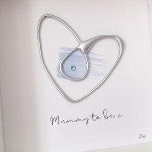 'Mummy to be' Pregnancy Heart, Box Frame Personalised Art (Silver & Blue)  www.withcerys.co.uk Unique Wall Art Gifts