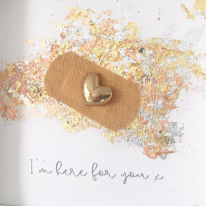 'I'm here for you' Positive Plaster, 3D Box Frame Personalised Art (Gold) www.withcerys.co.uk Unique Gifts Of Art