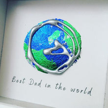 Load image into Gallery viewer, 'Best Dad in the world' Earth, 3D Box Frame Personalised Art (Silver) www.withcerys.co.uk Unique Wall Art Gifts