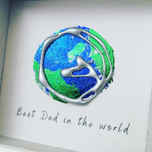 'Best Dad in the world' Earth, 3D Box Frame Personalised Art (Silver) www.withcerys.co.uk Unique Wall Art Gifts