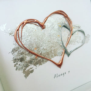 'Always' Hearts (Rose Gold & Silver) Box Framed Wall Art Gift. www.withcerys.co.uk