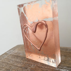 'My Heart' Small Acrylic Keepsake (Rose Gold) www.withcerys.co.uk Unique 3D Gifts Of Art