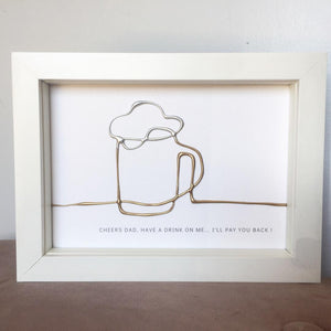 'Have a drink on me' Cheers, 3D Box Frame Personalised Art (Gold & Silver) www.withcerys.co.uk Unique Wall Art Gifts