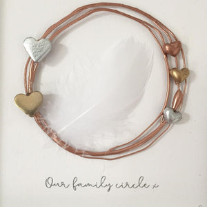 'Our family circle' Remembrance Feather Circle, 3D Box Frame Personalised Art (Rose Gold) www.withcerys.co.uk