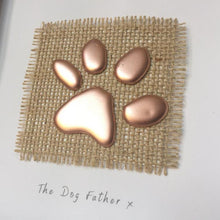 Load image into Gallery viewer, 'The Dog Father' Paws, 3D Box Frame Personalised Art (Rose Gold) www.withcerys.co.uk Unique Gifts Of Art