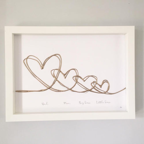 'Names of family' Hearts Family Portrait, 3D Box Frame Personalised Print (Gold) www.withcerys.co.uk