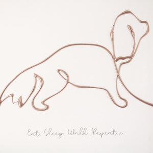 'Eat. Sleep. Walk. Repeat' Dog Portrait, 3D Box Frame Personalised Art (Rose Gold)  www.withcerys.co.uk Unique Wall Art Gifts
