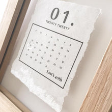Load image into Gallery viewer, Special Day Calendar Floating Wooden Frame Personalised Word Art (Silver) www.withcerys.co.uk Unique Wall Art Gifts