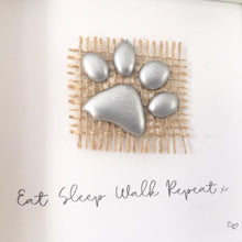 Load image into Gallery viewer, 'Eat. Sleep. Walk. Repeat' Paws, Box Frame Personalised Art (Silver) www.withcerys.co.uk Unique 3D Gifts Of Art