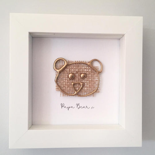 'Papa Bear' 3D Box Frame Personalised Print (Gold)