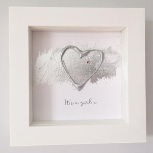 'It's a girl' New Baby, 3D Box Frame Personalised Art (Silver & Pink)