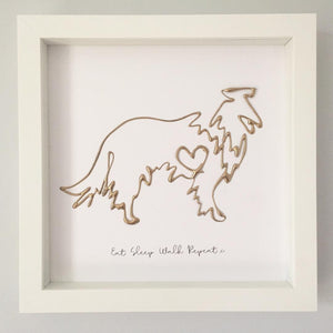 'Eat. Sleep. Walk. Repeat' Dog Portrait, 3D Box Frame Personalised Art (Gold) www.withcerys.co.uk Unique Wall Art Gifts