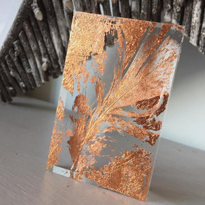 'Real Feather' Small Acrylic Keepsake (Rose Gold Leaf) www.withcerys.co.uk