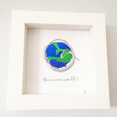 'You're our world' Earth, 3D Box Frame Personalised Art (Silver)