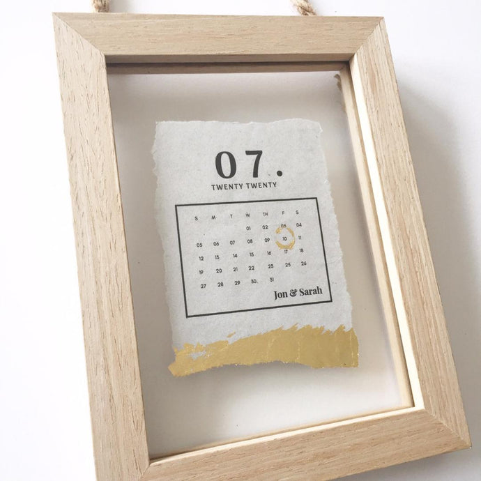 Marriage Date Calendar Floating Wooden Frame Personalised Word Art (Gold)