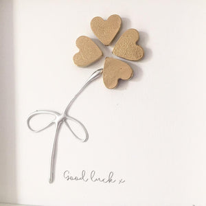 'Good luck' Four Leaf Clover, Lucky Charm, 3D Box Frame Personalised Art (Gold) www.withcerys.co.uk