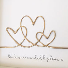 Load image into Gallery viewer, 'You're surrounded by love' Hearts , Box Frame Personalised Art (Gold) www.withcerys.co.uk Unique 3D Wall Art Gifts