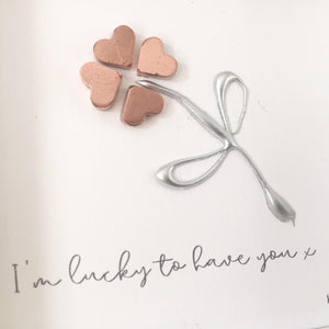'I'm lucky to have you' Four Leaf Clover, Lucky Charm, 3D Box Frame Personalised Art (Rose Gold) www.withcerys.co.uk