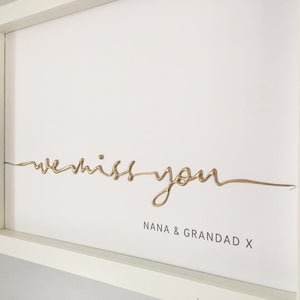 'we miss you' Nana & Grandad, 3D Box Frame Personalised Word Art (Gold) www.withcerys.co.uk Unique Gifts Of Art