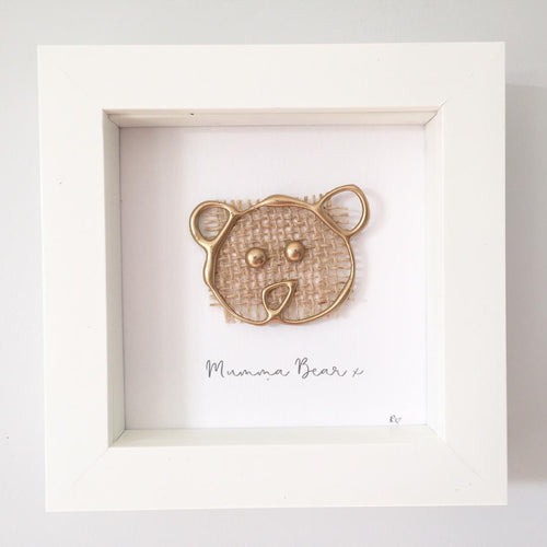 'Mumma Bear' Box Frame Personalised Print (Gold) www.withcerys.co.uk Unique 3D Gifts Of Art