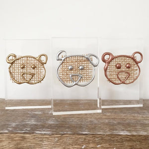 Metallic '3 Little Bears' Small Acrylic Keepsake (Gold, Rose Gold, Silver) www.withcerys.co.uk Personalised Wall Art Gifts