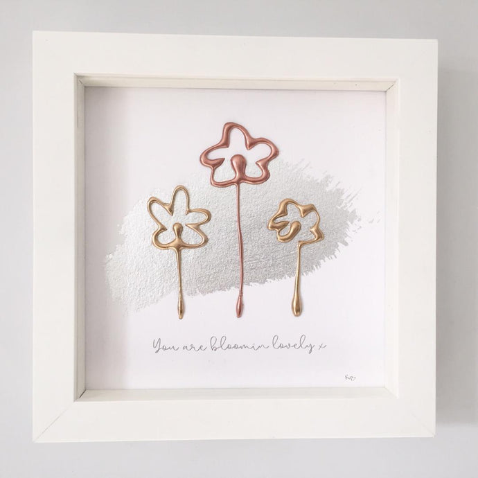 'You are bloomin lovely' Flowers, 3D Box Frame Personalised Art (Gold & Rose Gold) www.withcerys.co.uk