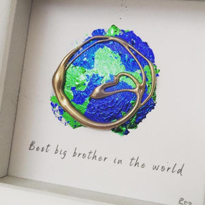 'Best Big brother in the world' Earth, 3D Box Frame Personalised Art (Gold) www.withcerys.co.uk Unique Wall Art Gifts