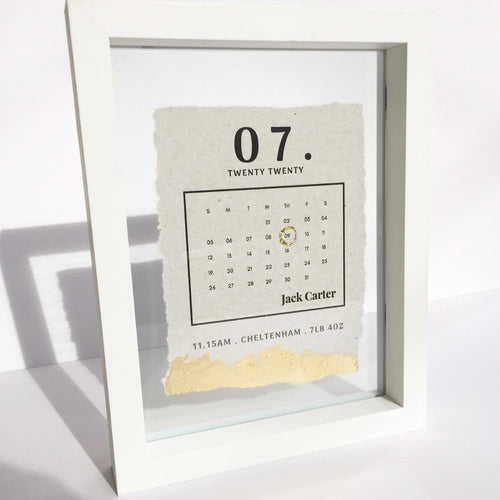 Newborn Date Calendar Floating Frame Personalised Word Art (Gold) www.withcerys.co.uk Unique Gifts Of Art