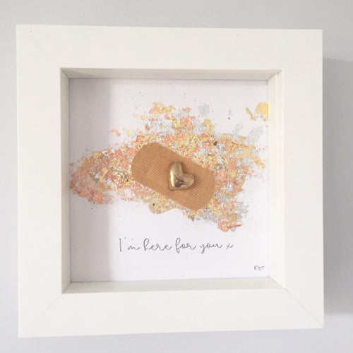 'I'm here for you' Positive Plaster, Box Frame Personalised Art (Gold) www.withcerys.co.uk Unique 3D Gifts Of Art