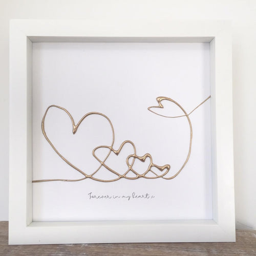 'Forever in my heart' Guardian Angel Family Portrait, 3D Box Frame Personalised Art (Gold) www.withcerys.co.uk