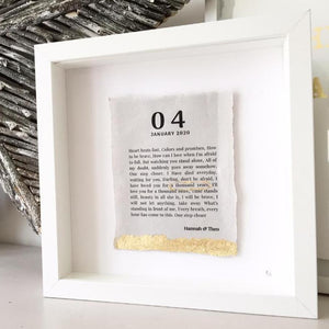 Song Lyric Box Frame Personalised Word Art (Gold) www.withcerys.co.uk Unique Wall Art Gifts