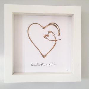 'Our little angel' Heart 3D Box Frame Personalised Art (Gold) www.withcerys.co.uk Wall Art Gifts