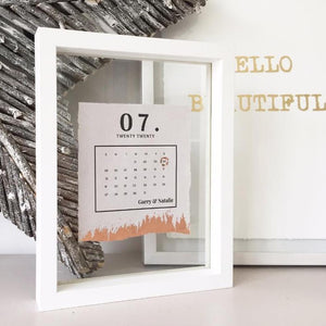 Marriage Date Calendar Floating Frame Personalised Word Art (Rose Gold)