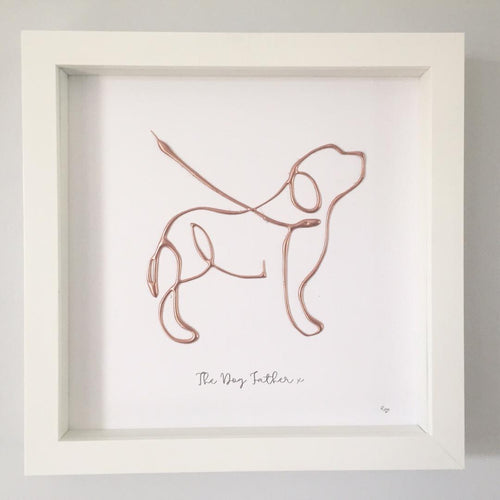'The Dog Father' Dog Portrait, Box Frame Personalised Art (Rose Gold) www.withcerys.co.uk Unique 3D Wall Art Gifts