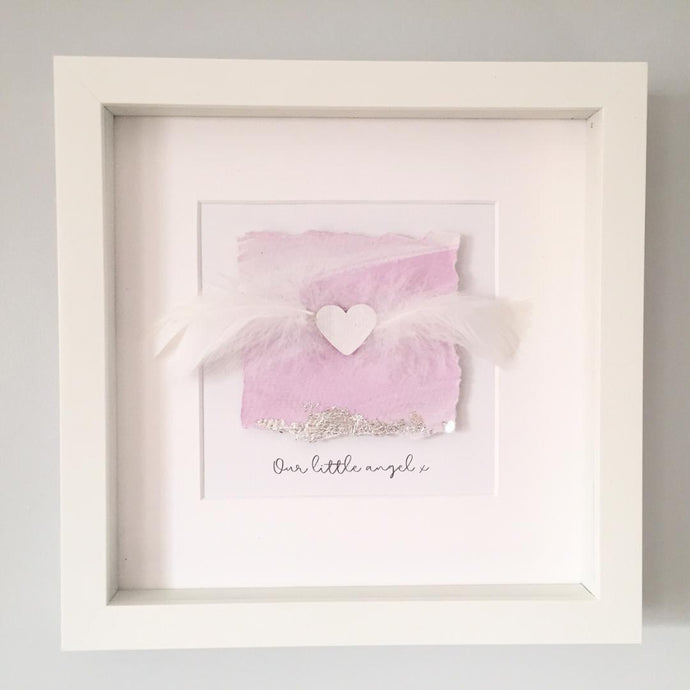 withcerys 'Our little angel' Remembrance Heart, 3D Box Frame Personalised Art (Pink & Silver) www.withcerys.co.uk